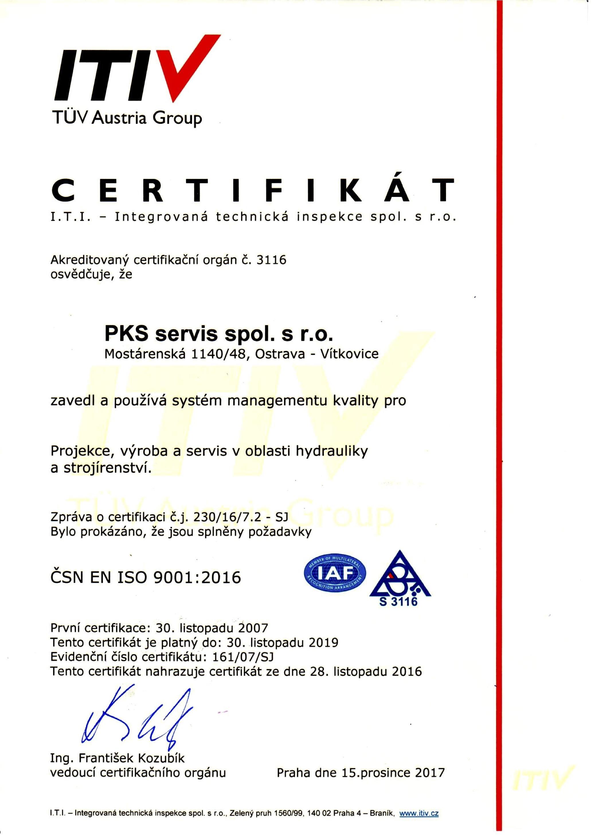 certifikát iso 2017