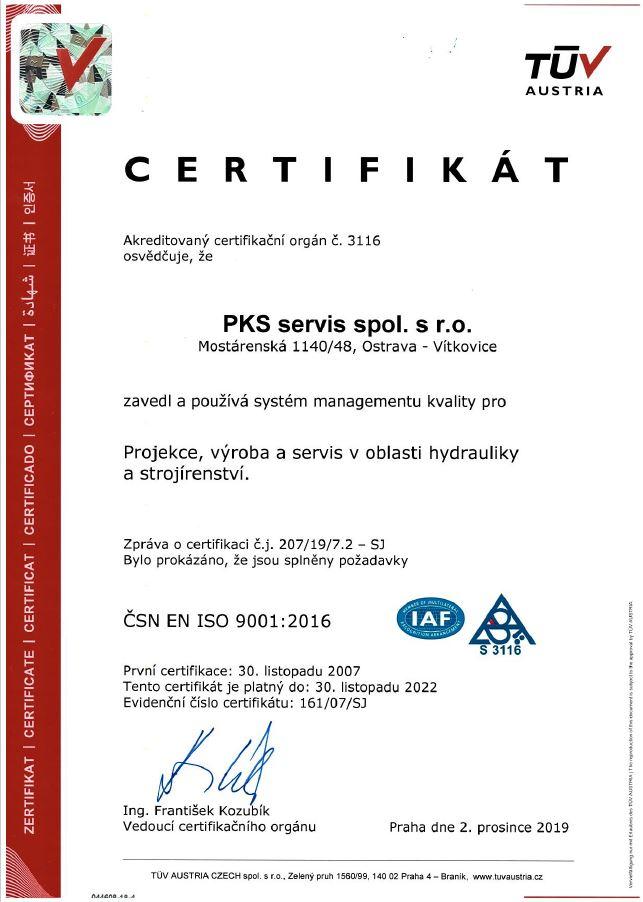 Certifikát ČSN EN ISO 9001:2016