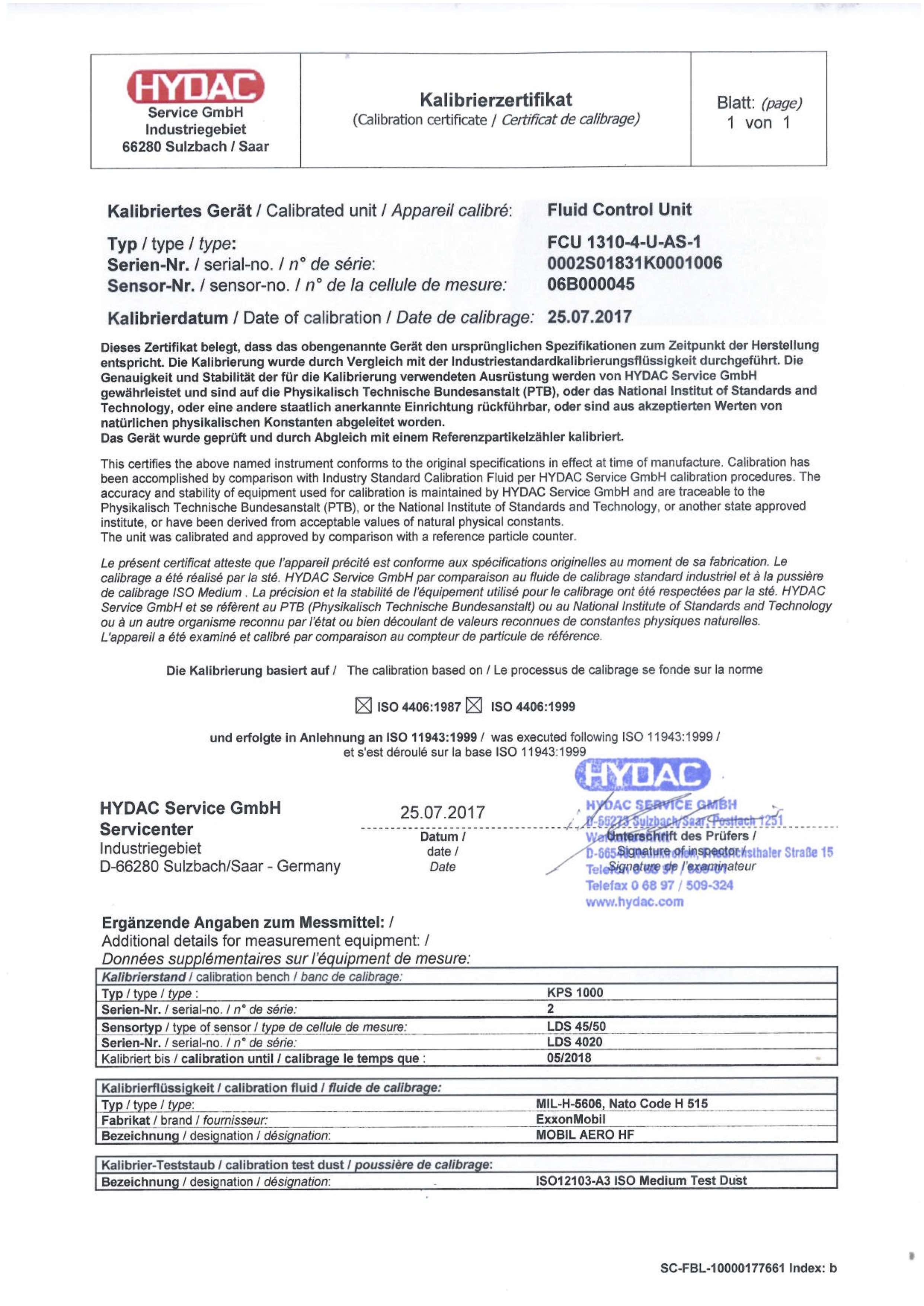 kalibrace FCU 1000